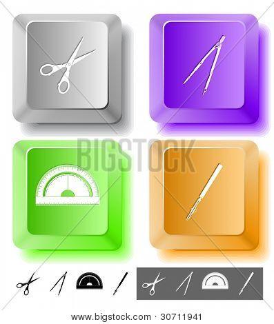 Education icon set. Scissors, ruling pen, protractor, caliper. Computer keys. Raster illustration.