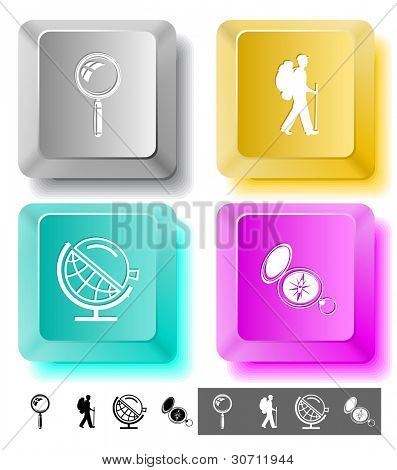 Education icon set. Magnifying glass, compass, traveller, globe and loupe. Computer keys. Raster illustration.