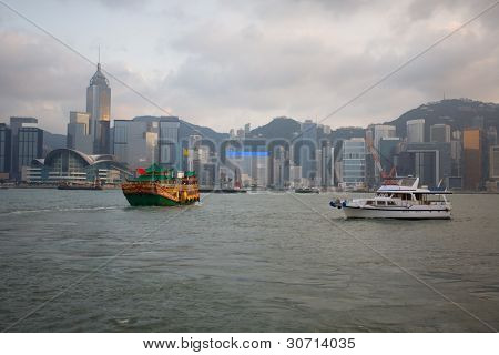 View of Hong Kong Island at evening. September, 2011.