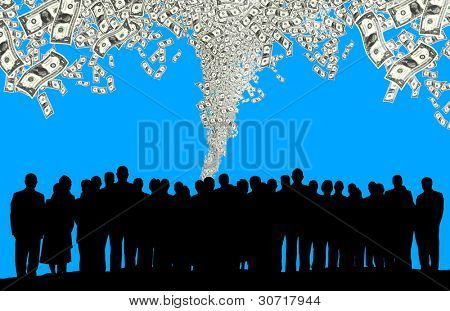 an image of business people silhouette and one dollar bills flying