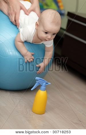 Baby Boy On Fitness Ball