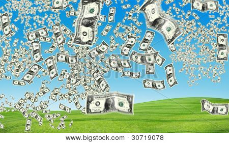 the peacefull blue sky and grass and dollar flying