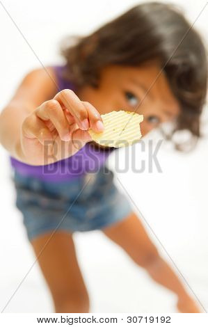 Ethnic Child Eat Potato Chip Snack