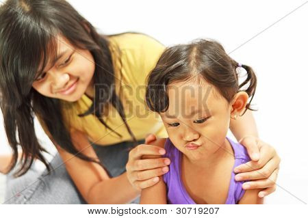 Teen Sister Persuade Cranky Child