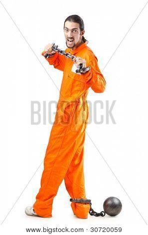 Criminal in orange robe in prison