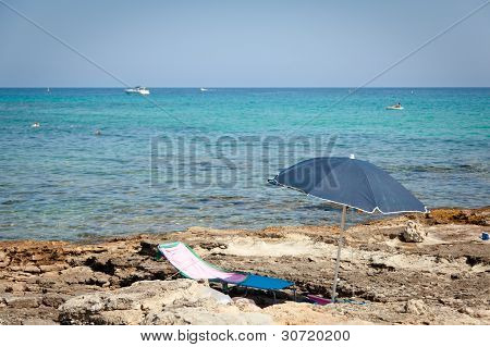 Sun Umbrella In Front Of The Sea