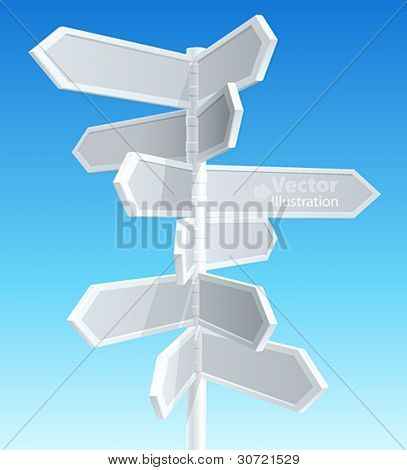 Direction road signs â?? arrows on blue sky. Vector illustration.