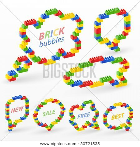 Colorful brick toys bubbles. Vector illustration.