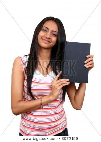 Young Indian Student Holding A Book.
