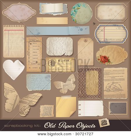 Old Paper Objects (2) - variety of scraps for your layouts or scrapbooking projects