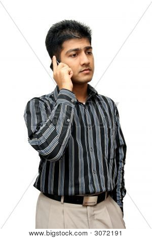 Young Indian Business Man Using Cellphone