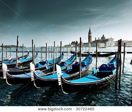 Gondolas on Grand Canal and San Giorgio Maggiore church in Venice
