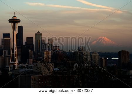Seattle Space Needle And Mt. Rainier V2