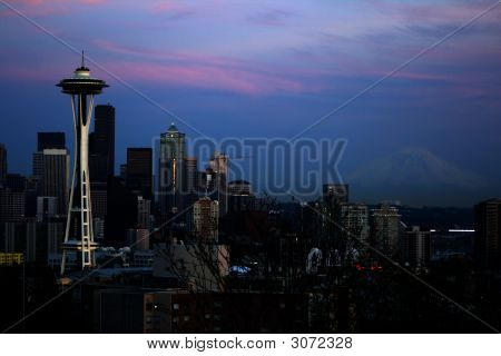 Seattle Space Needle And Mt. Rainier V3
