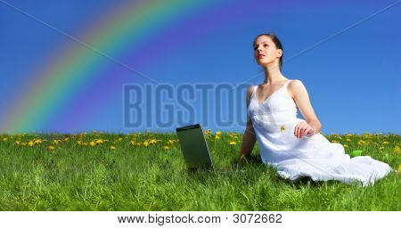 Woman, Laptop And Blue Sky