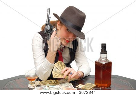 Girl With Cards And Gun
