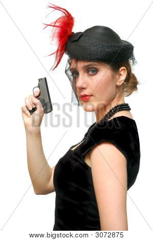 Beautiful Lady With Gun