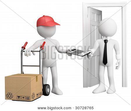 Trabalhador 3D entregando um pacote