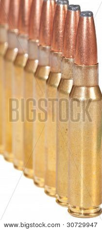 Macro Of Rifle Bullets In A Row