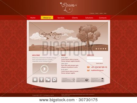 Website template for hotel, restaurant, beuty & spa salon etc. Vintage pattern background design. Editable.