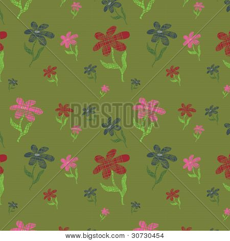 Green Seamless Background With Flowers