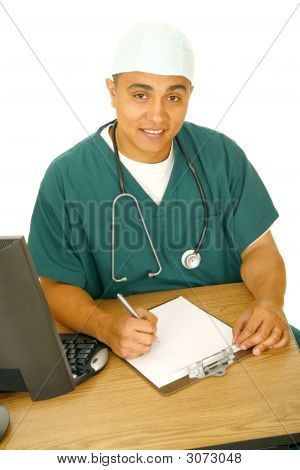 Nurse Working On His Desk