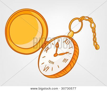 Cartoon Home Clock Isolated on White Background. Vector.