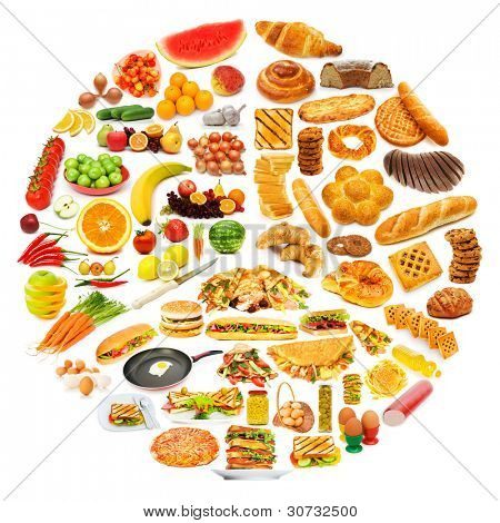 Circle with lots of food items
