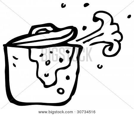 cartoon bubbling stew pot