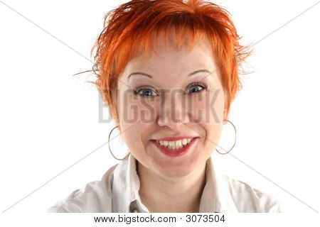 Hysterical  Smile Of Business Woman Isolaited On White Background