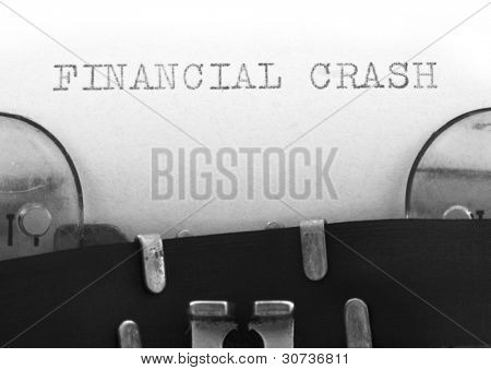 Financial Crash printed on the typewriter