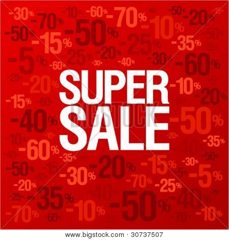 Super sale background with percent discount pattern.