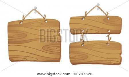 Wooden boards hanging on a cord.