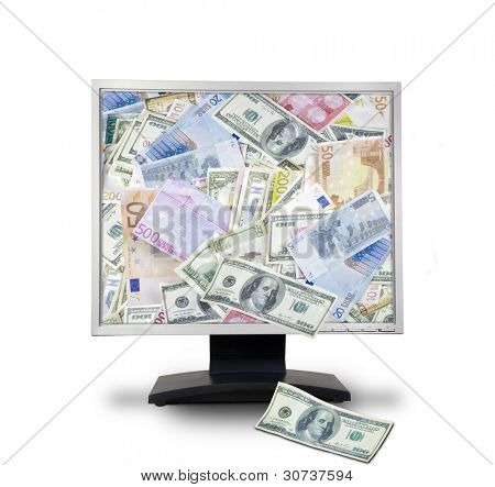 Internet money concept. Computer monitor with money. Online e-commerce. On blue background.