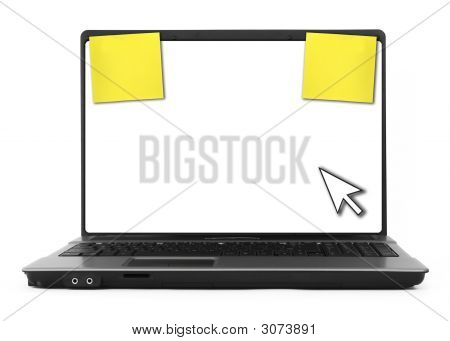 Notebook With Cursor And Yellow Notes
