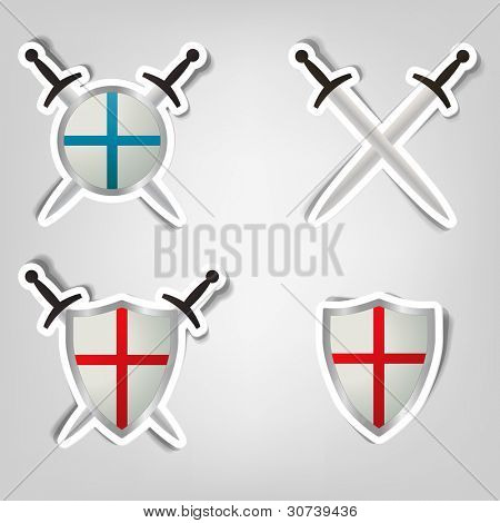 set of vector stickers with a picture of shields and swords