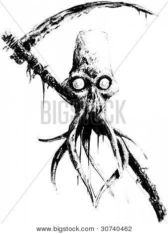 spooky tentacle skull with scythe