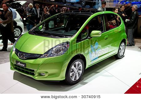 GENEVA - MARCH 8: The Honda Jazz Hybrid on display at the 81st International Motor Show Palexpo-Geneva on March 8; 2011  in Geneva, Switzerland.