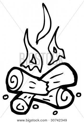 cartoon doodle of a camp fire
