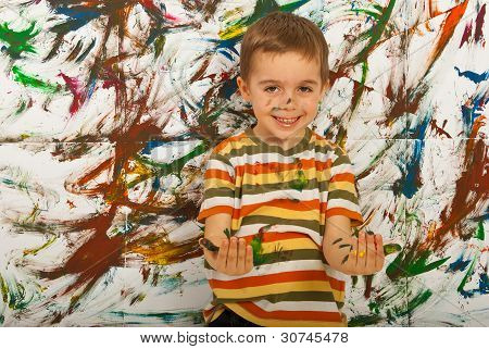 Messy Child Boy Having Fun