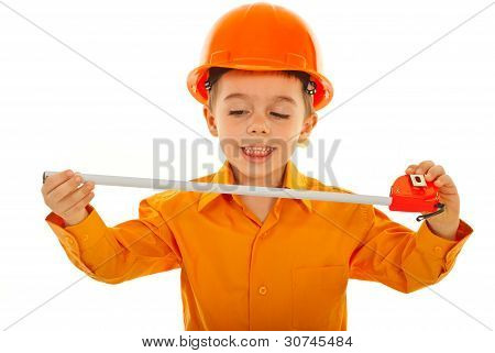 Joyful Kid With Measure Tool