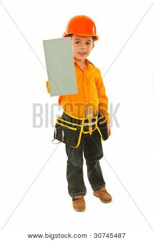 Builder Boy Holding Notched