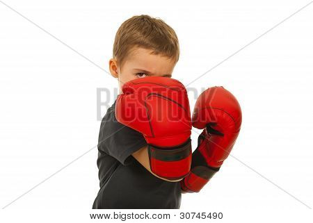 Defending Little Boy With Boxing Gloves