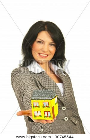 Business Woman Giving Home