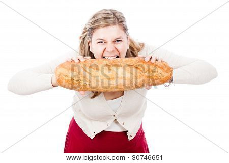 Hungry Woman With Bread