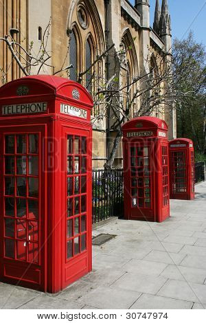 Telephone Booths On A London Street