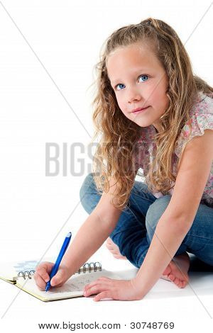 Cute Girl Doing Homework Isolated.