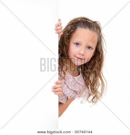 Portrait Of Girl Holding Copy Space.