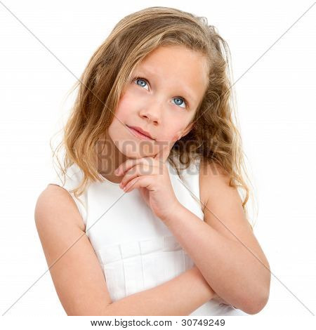 Portrait Of Young Girl Wondering.