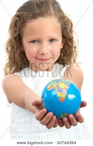 Young Girl Holding Earth Sphere.